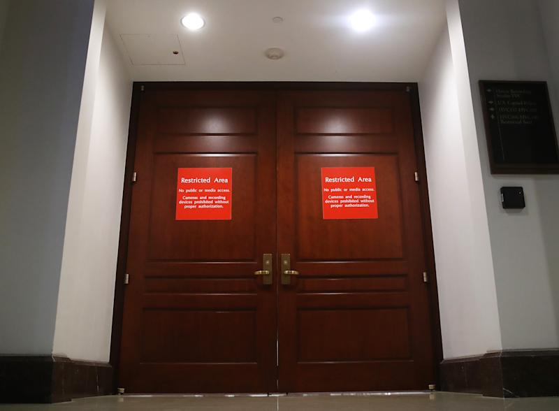 The doors are closed in restricted area where witnesses have been giving depositions regarding the impeachment inquiry against President Trump, on Capitol Hill, Nov. 5, 2019 in Washington, DC. Today two witnesses, Wells Griffith, and Michael Duffey declined to be deposed as part of the impeachment inquiry led by the House Intelligence, House Foreign Affairs and House Oversight and Reform Committees.(Photo: Mark Wilson/Getty Images)