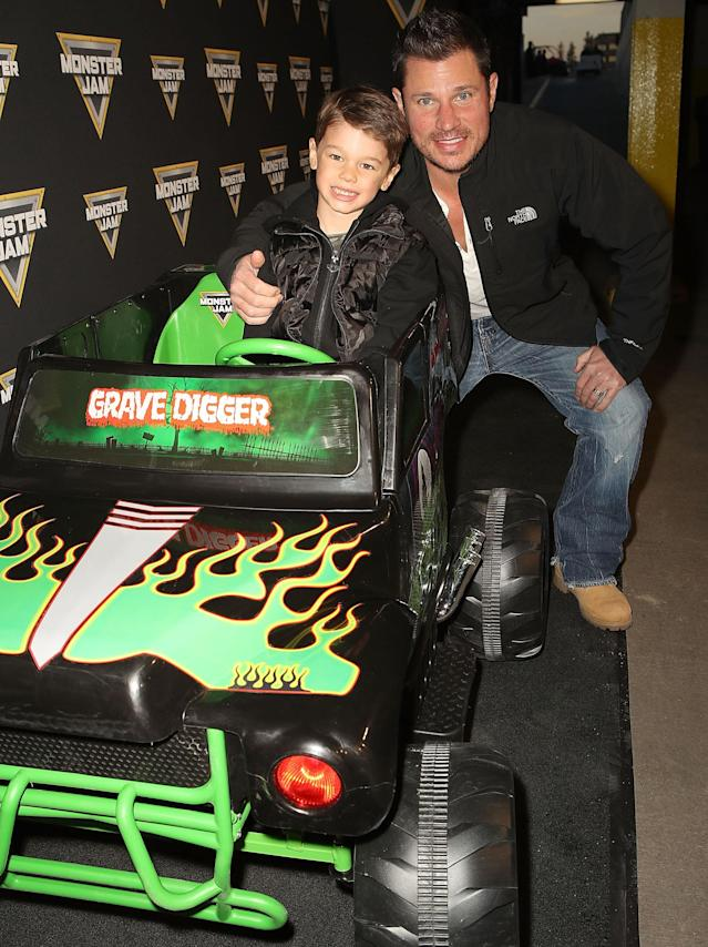 "<p>Retired bar owner and perennial boybander Nick Lachey brought his eldest, Camden, for some father-son time. ""Boys night!!"" he wrote on Instagram. If he blinks a few times, his kiddo is going to be driving him around for real — though probably not in a vehicle that says ""Grave Digger"" across the front of it. (Photo: Ari Perilstein/Getty Images for Feld Entertainment) </p>"