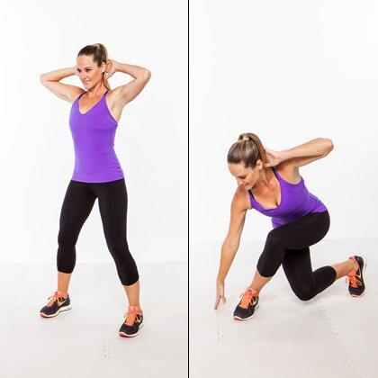 """<p>This traveling lunge targets your thighs and glutes, plus the reaching motion adds an extra core challenge (speaking of which, try this <a href=""""https://www.shape.com/fitness/workouts/ultimate-30-day-plank-challenge-your-strongest-core-ever"""" target=""""_blank"""">30-day plank-a-thon</a>!) to the hip workout.</p> <ul><li>Stand tall with your feet slightly wider than hip-width apart, hands clasped behind your head.</li> <li>Cross your right leg behind your left and lower into a curtsy lunge, reaching your right hand to the floor [as shown].</li> <li>Quickly stand back up and return to start.</li> </ul><p><strong>Do 20 reps total, alternating sides.</strong></p>"""
