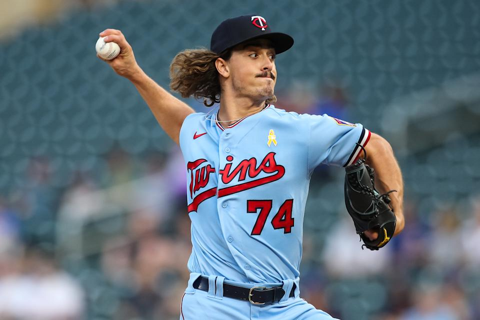 MINNEAPOLIS, MN - SEPTEMBER 1: Joe Ryan #74 of the Minnesota Twins delivers a pitch in his Major League debut against the Chicago Cubs in the first inning of the game at Target Field on September 1, 2021 in Minneapolis, Minnesota. (Photo by David Berding/Getty Images)