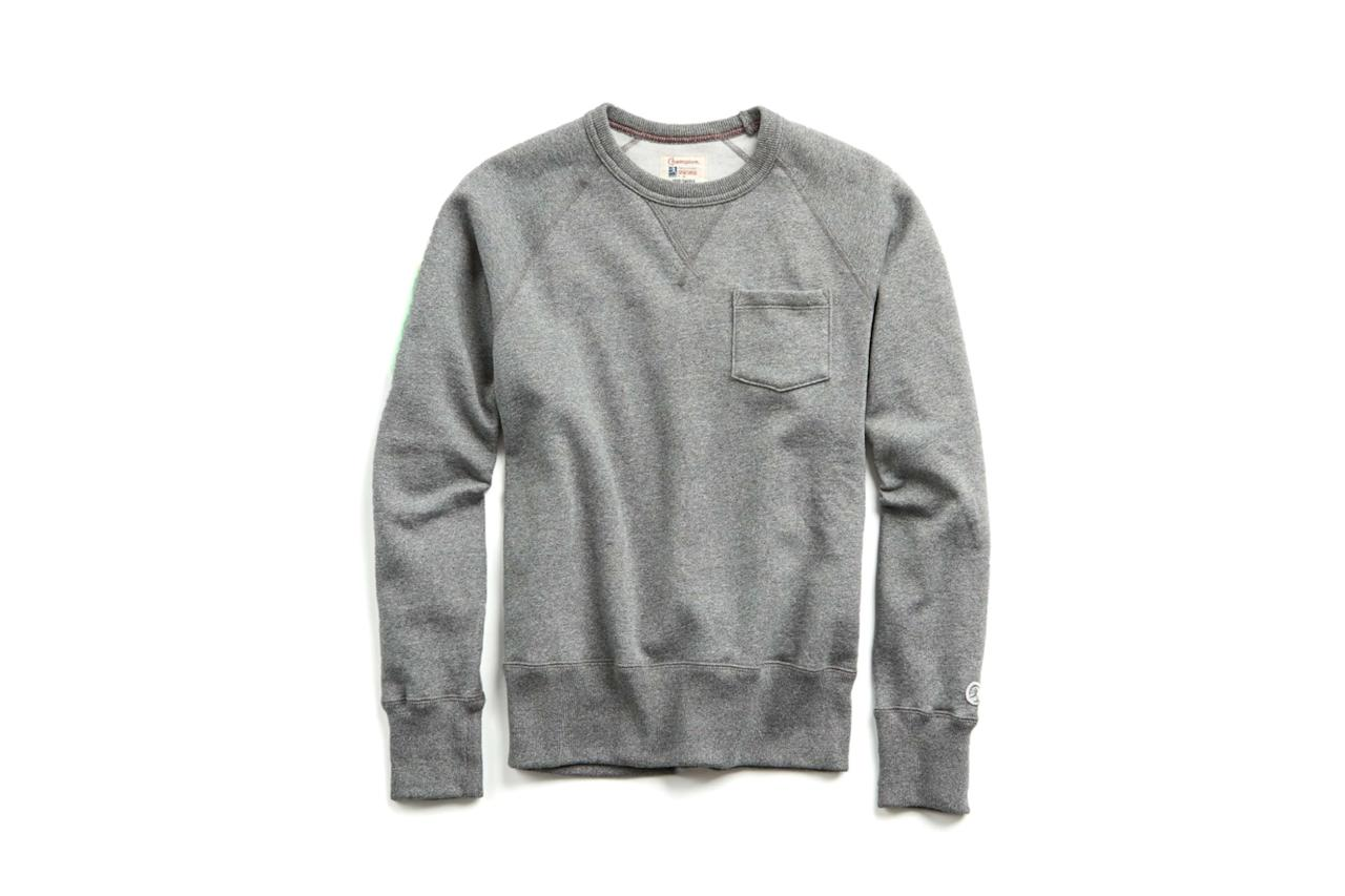 "$98, Todd Snyder. <a href=""https://www.toddsnyder.com/collections/all-clothing/products/pocket-sweatshirt-salt-and-pepper-3"">Get it now!</a>"