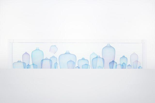 """""""Jellyfish Vase"""" is an installation by Nendo, showing at the Jil Sander showroom during Milan design week"""