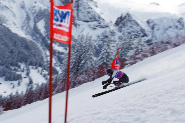 Tommy Ford, of the United States, competes during a ski World Cup men's Giant Slalom in Adelboden, Switzerland, Saturday, Jan. 12, 2019. (AP Photo/Gabriele Facciotti)