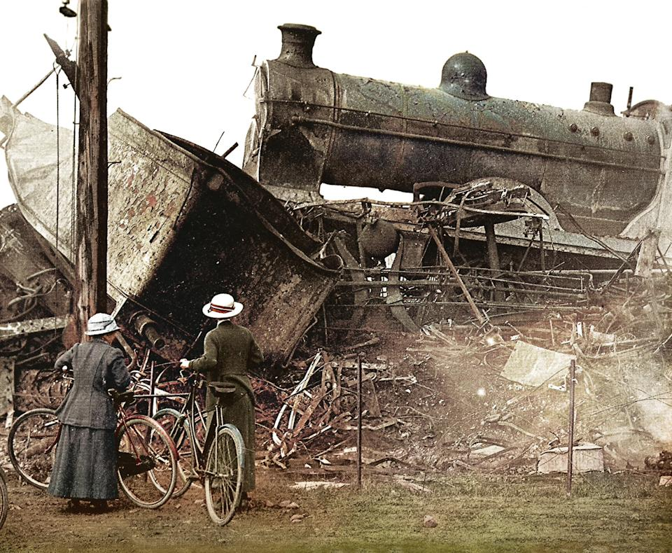 <p>On 22nd May 1915, the Quintinshill rail disaster occurred near Gretna Green, Scotland at Quintinshill on the Caledonian Railway Main Line linking Glasgow and Carlisle. The crash, which involved five trains, killed a probable 226 and injured 246 and remains the worst rail crash in British history in terms of loss of life. Those killed were mainly Territorial soldiers from the 1/7th (Leith) Battalion, the Royal Scots heading for Gallipoli. (Tom Marshall/mediadrumworld.com) </p>