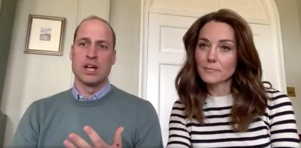 "<p>The Duchess opted for a simple striped sweater during <a href=""https://www.bbc.com/news/uk-52308863"" rel=""nofollow noopener"" target=""_blank"" data-ylk=""slk:an interview with the BBC"" class=""link rapid-noclick-resp"">an interview with the BBC</a> about the importance of mental health during the coronavirus crisis.</p>"