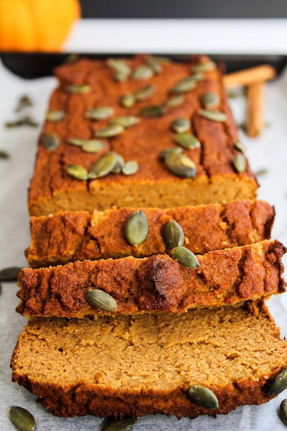 """<p>Keep your snack guilt-free with this Paleo-approved snack. </p><p><strong>Get the recipe at <a href=""""https://www.asaucykitchen.com/paleo-pumpkin-bread/"""" rel=""""nofollow noopener"""" target=""""_blank"""" data-ylk=""""slk:A Saucy Kitchen"""" class=""""link rapid-noclick-resp"""">A Saucy Kitchen</a>.</strong></p>"""