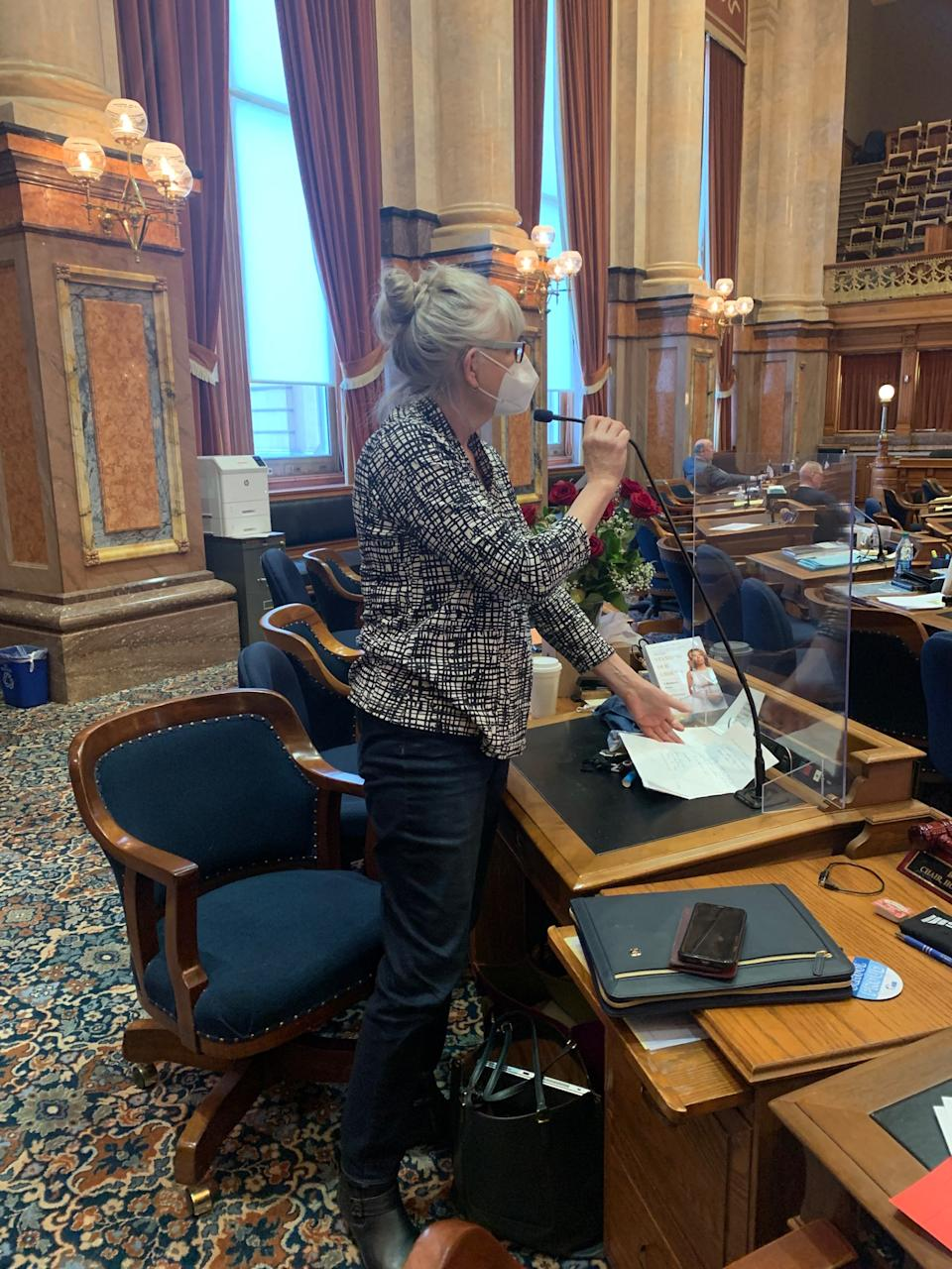 In February, Rep. Beth Wessel-Kroeschell broke an Iowa Capitol dress code by wearing jeans to the House floor, to protest the building's lack of mask mandate. (Photo: Courtesy of Rep. Beth Wessel-Kroeschell)