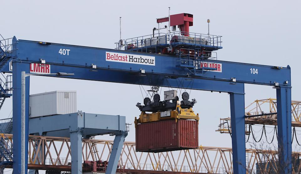A general view of Belfast harbour freight operations. Picture date: Saturday February 27, 2021. PA Photo. See PA story POLITICS Brexit Export . Photo credit should read: Niall Carson/PA Wire