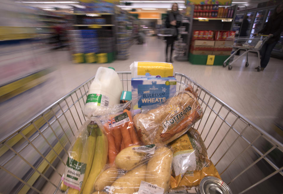 Food in a trolley at Morrisons supermarket. Photo: Jon Super/PA Wire