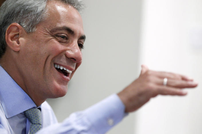 FILE - In this Aug. 9, 2011, file photo, Chicago Mayor Rahm Emanuel speaks during an interview with The Associated Press at his office in Chicago. Emanuel, a Democratic congressman and chief of staff to President Barack Obama before becoming mayor in 2011, announced Tuesday, Sept. 4, 2018, that he won't seek a third term in 2019. (AP Photo/M. Spencer Green, File)