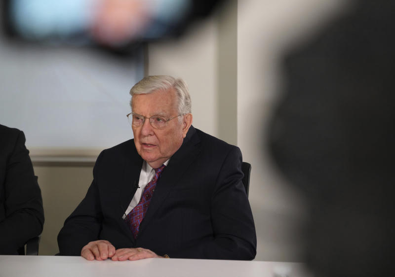 M. Russell Ballard, a senior leader of The Church of Jesus Christ of Latter-day Saints and acting president of the Quorum of Twelve Apostles, speaks during an interview, Friday, Nov. 15, 2019, at the Associated Press headquarters in New York. (AP Photo/Emily Leshner)