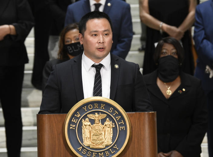 "FILE - In this June 8, 2020, file photo, Assemblyman Ron Kim, D-Queens, speaks during a press briefing at the state Capitol in Albany, N.Y. Kim says Gov. Andrew Cuomo vowed to ""destroy"" him, during a private phone call last week for criticizing his handling of COVID-19 outbreaks at nursing homes. (AP Photo/Hans Pennink, File)"
