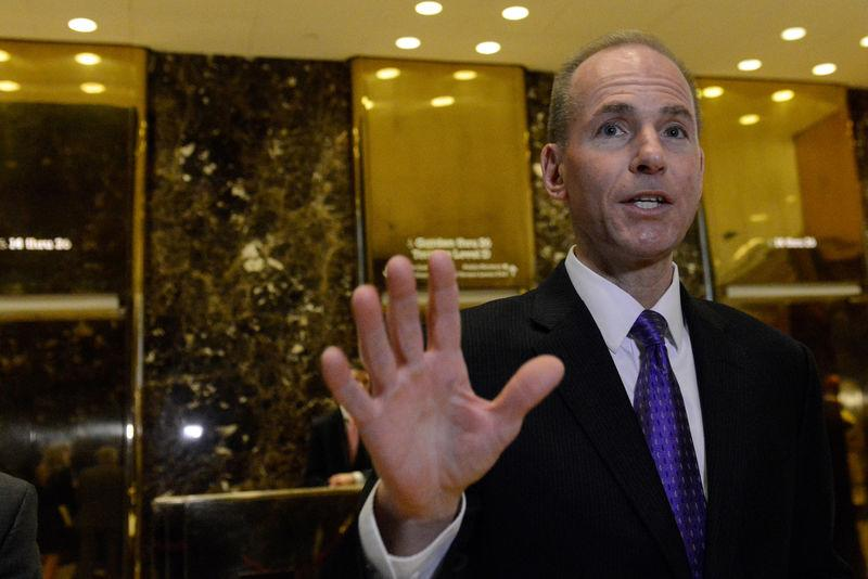 Dennis Muilenburg, CEO of The Boeing Company, arrives at Trump Tower in New York City