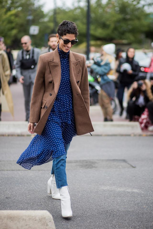 <p>If you weren't already planning to wear your dresses over your jeans this winter, this should convince you to do it.</p>