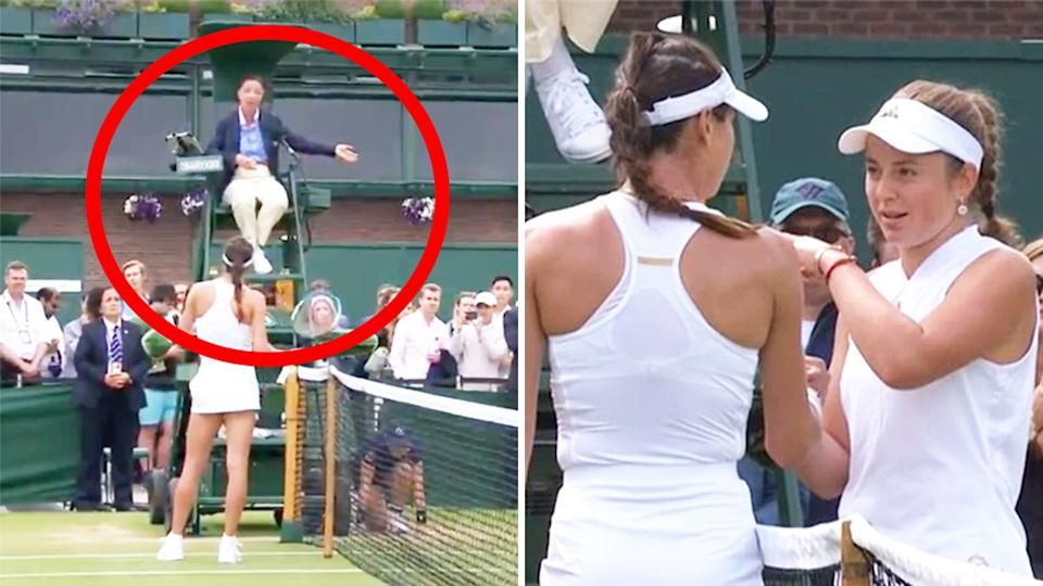 Ajla Tomljanovic (pictured left) arguing with the chair umpire and (pictured right) an an ugly spat with Jelena Ostapenko (pictured far right) at the net after their Wimbledon match.