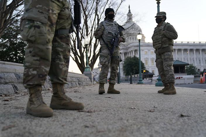 National Guard troops in position near the U.S. Capitol.