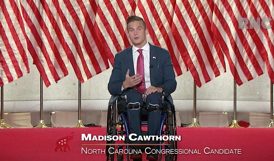 "In this screenshot from a livestream of the 2020 Republican National Convention, North Carolina congressional nominee Madison Cawthorn gives a speech on Aug. 26, 2020.<span class=""copyright"">RNC—Getty Images</span>"