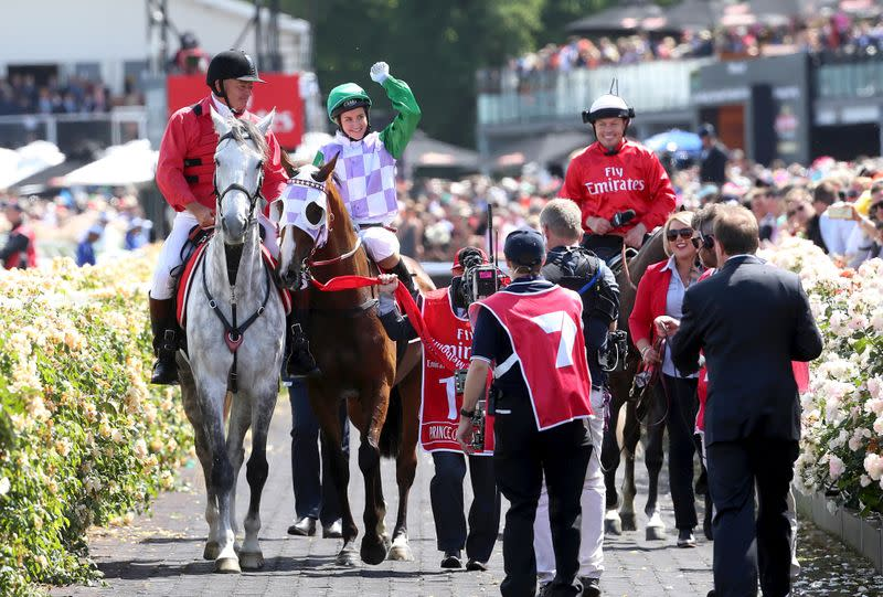 FILE PHOTO: Prince of Penzance ridden by Michelle Payne returns to scale after winning race 7 the Melbourne Cup during the Melbourne Cup during the Melbourne Cup race day at Flemington Racecourse