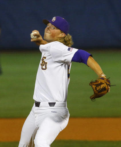 LSU's Matthew Beck pitches during the first inning of a Southeastern Conference tournament NCAA college baseball game against Florida, Friday, May 25, 2018, in Hoover, Ala. (AP Photo/Butch Dill)