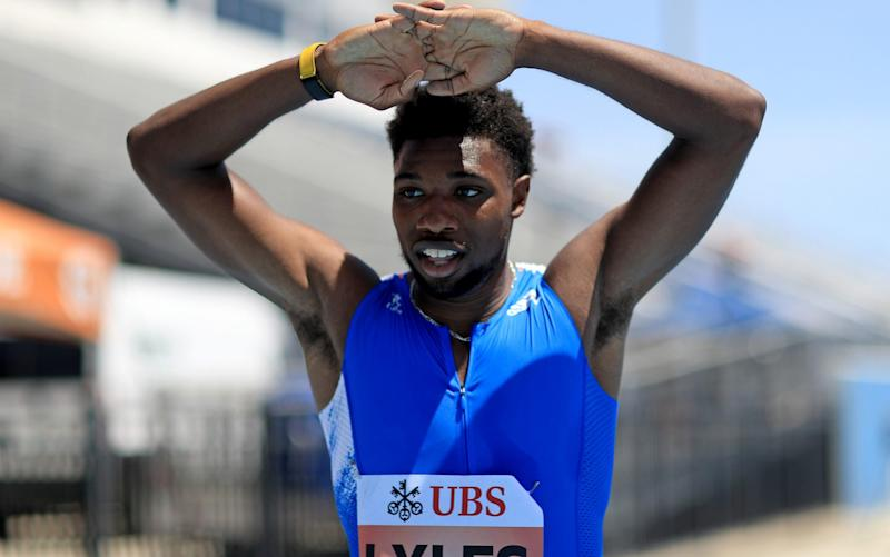 Noah Lyles shows his disappointment - GETTY IMAGES