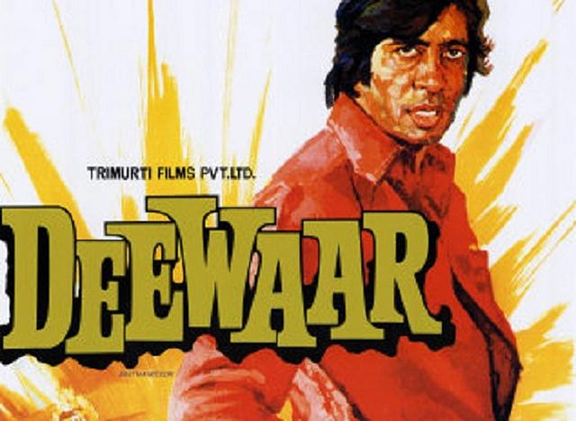 "<p>A masterpiece in storytelling and a film that cemented Amitabh Bachchan's image as the angry young man, the 1975 hit Deewar is loosely based on the life of gangster Haji Mastan. The film depicts the story of two brothers who, after being abandoned by their idealistic father, struggle to survive, and eventually take up two opposing career paths – one as a smuggler and the other as a policeman.<br />The film, which gave Hindi cinema one of the most popular lines, <em>""Aaj mere paas </em>bangla<em> hai, </em>gaadi<em> hai, bank balance hai, kya hai </em>tumhare<em> paas? Mere paas… Maa hai…,""</em> became one of the biggest hits of the 70s. </p>"