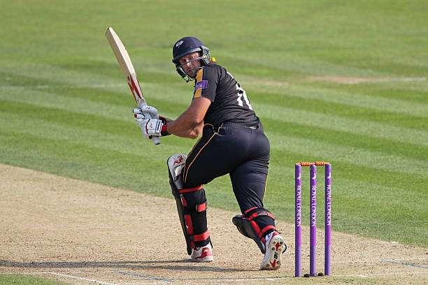 CANTERBURY, ENGLAND - AUGUST 18: Tim Bresnan of Yorkshire hits out during the Royal London One-Day Cup quarter final between Kent v Yorkshire on August 18, 2016 in Canterbury, England. (Photo by Sarah Ansell/Getty Images).