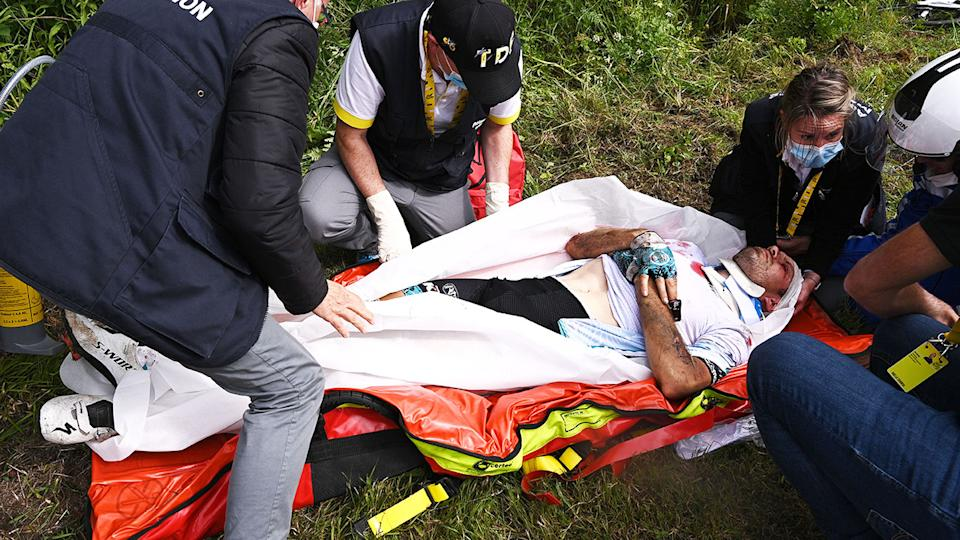 Cyril Lemoine, pictured here being attended to by medics after the crash.