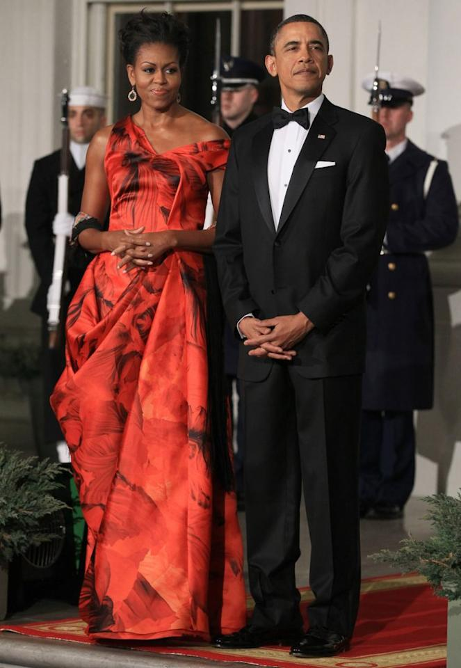 <p>Michelle Obama in Alexander McQueen, 2011. (Photo: Getty Images)</p>