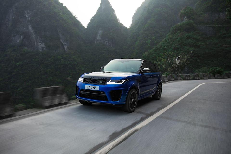 """<p>Jaguar Land Rover sure gets its money's worth from its supercharged V-8, and the company's engineers keep extracting more and more power from the engine. In the <a href=""""https://www.caranddriver.com/land-rover/range-rover-sport-supercharged-svr"""" rel=""""nofollow noopener"""" target=""""_blank"""" data-ylk=""""slk:Land Rover Range Rover Sport SVR"""" class=""""link rapid-noclick-resp"""">Land Rover Range Rover Sport SVR</a>, as well as the <a href=""""https://www.caranddriver.com/jaguar/f-type-r-svr"""" rel=""""nofollow noopener"""" target=""""_blank"""" data-ylk=""""slk:Jaguar F-type SVR"""" class=""""link rapid-noclick-resp"""">Jaguar F-type SVR</a> sports car, the 5.0-liter is rated 575 horsepower and 516 lb-ft of torque. Enough, Land Rover says, to get the big SUV to 60 mph in 4.3 seconds and ultimately to 176 mph. Although the two models share the same chassis, that's considerably more performance than you get in the heavier Range Rover SVAutobiography Dynamic. Plus the <a href=""""https://www.caranddriver.com/land-rover/range-rover-sport-supercharged-svr-2019"""" rel=""""nofollow noopener"""" target=""""_blank"""" data-ylk=""""slk:Range Rover Sport SVR"""" class=""""link rapid-noclick-resp"""">Range Rover Sport SVR</a> is much less expensive with a starting price around $115,000.</p><p><a class=""""link rapid-noclick-resp"""" href=""""https://www.caranddriver.com/land-rover/range-rover-sport-supercharged-svr"""" rel=""""nofollow noopener"""" target=""""_blank"""" data-ylk=""""slk:MORE RANGE ROVER SPORT SVR SPECS"""">MORE RANGE ROVER SPORT SVR SPECS</a></p>"""