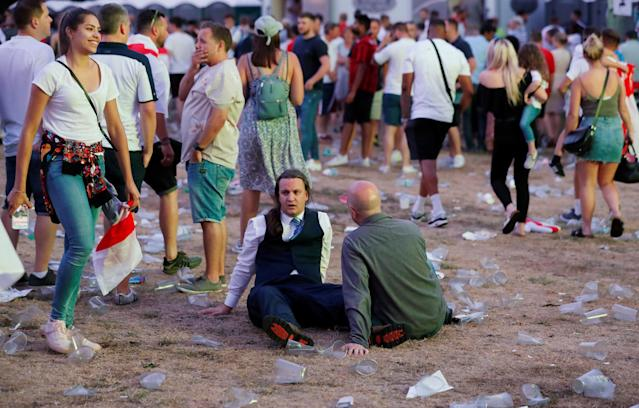 <p>England fans react to World Cup loss. Action Images via Reuters/Peter Cziborra </p>