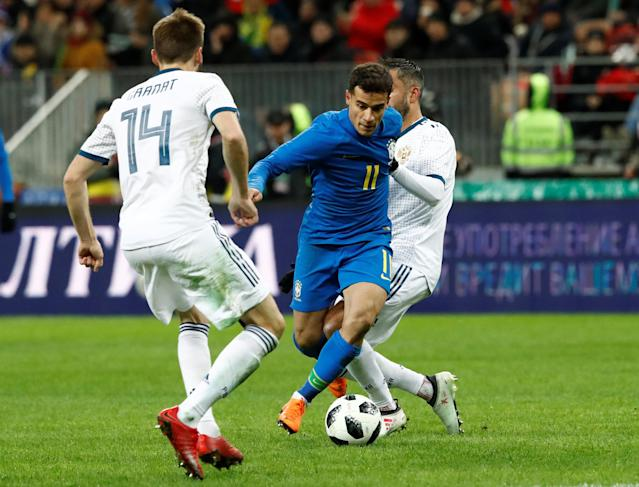 Soccer Football - International Friendly - Russia vs Brazil - Luzhniki Stadium, Moscow, Russia - March 23, 2018 Brazil's Philippe Coutinho in action REUTERS/Sergei Karpukhin