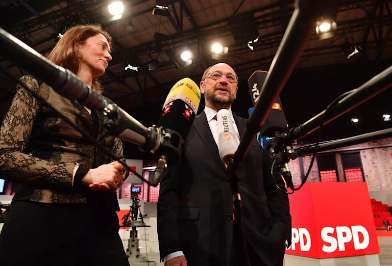 Katarina Barley alongside party leader Martin Schulz in Berlin: AFP/Getty Images