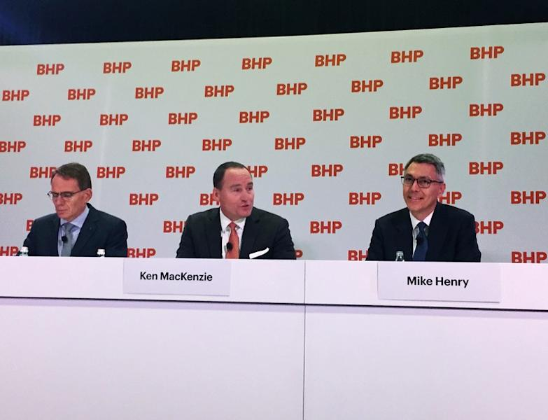 BHP's top leadership announce the appointment of Mike Henry as its new Chief Executive from January 1, 2020, at a news conference at BHP's Melbourne headquarters