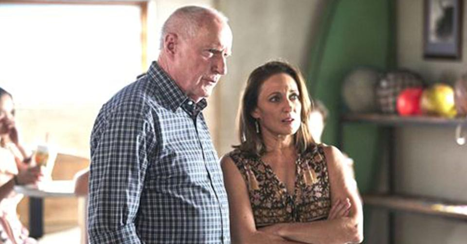 Home and Away stars Ray Meagher and Georgie Parker on set