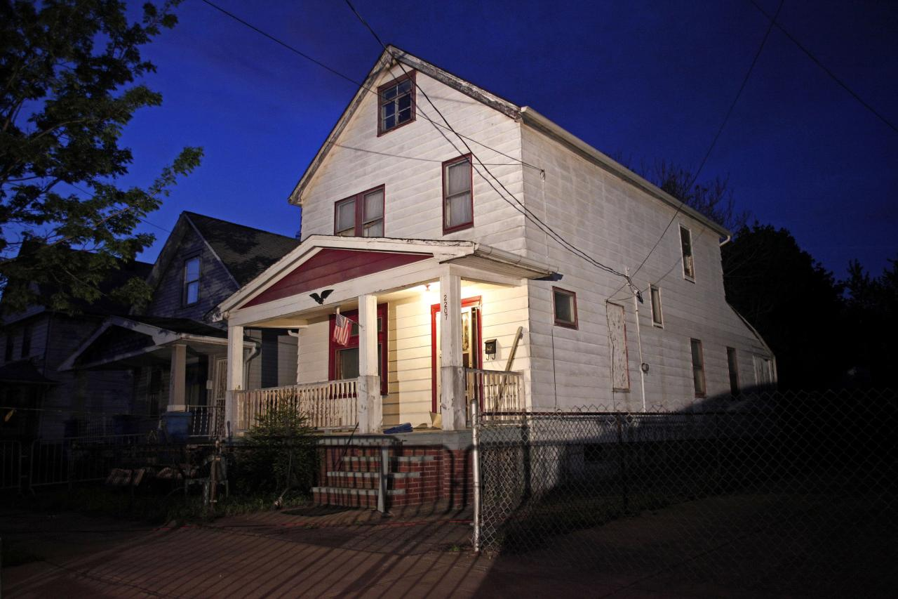 CLEVELAND, OH, - MAY 07:  A general view of the exterior of the house where, on Monday, three women who had disappeared as teenagers approximately ten years ago were found alive on May 7, 2013 in Cleveland, Ohio. Amanda Berry, who went missing in 2003, Gina DeJesus, who went missing in 2004, and Michele Knight, who went missing in 2002, were all found alive in the same house. Three suspects, all brothers, have been taken into custody. (Photo by Bill Pugliano/Getty Images)