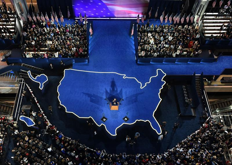 Hillary Clinton's campaign manager, John Podesta, addressing the crowd gathered during election night at the Javits Center in New York City. (JEWEL SAMAD via Getty Images)
