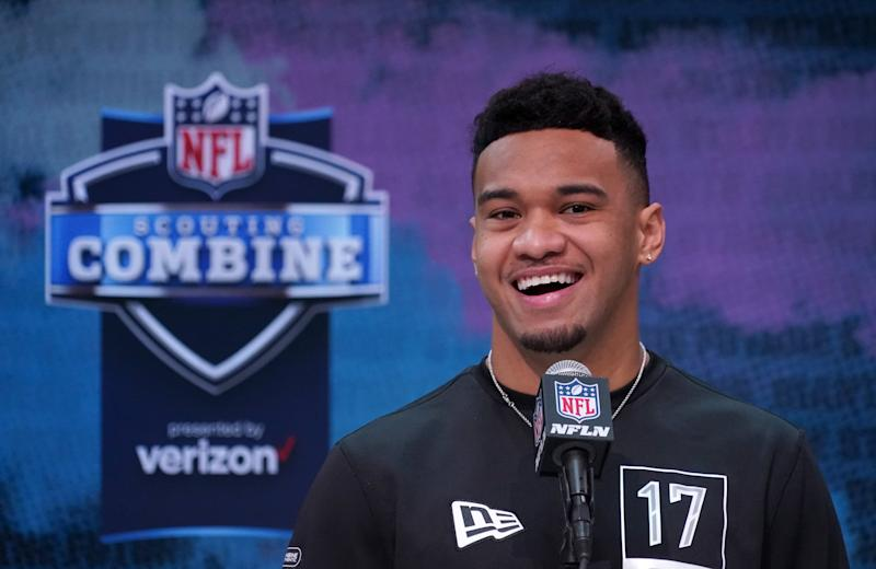 Feb 25, 2020; Indianapolis, Indiana, USA; Alabama Crimson Tide quarterback Tua Tagovailoa during the NFL Scouting Combine at the Indiana Convention Center. Mandatory Credit: Kirby Lee-USA TODAY Sports
