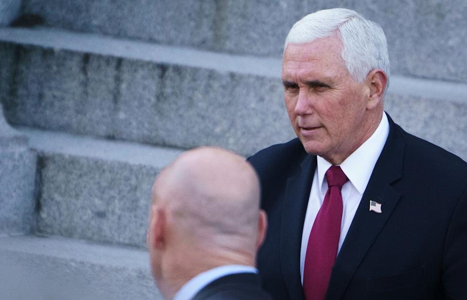 <p>Pence posts four pictures in his Twitter farewell message –none of them including Trump</p> (MANDEL NGAN/AFP via Getty Images)