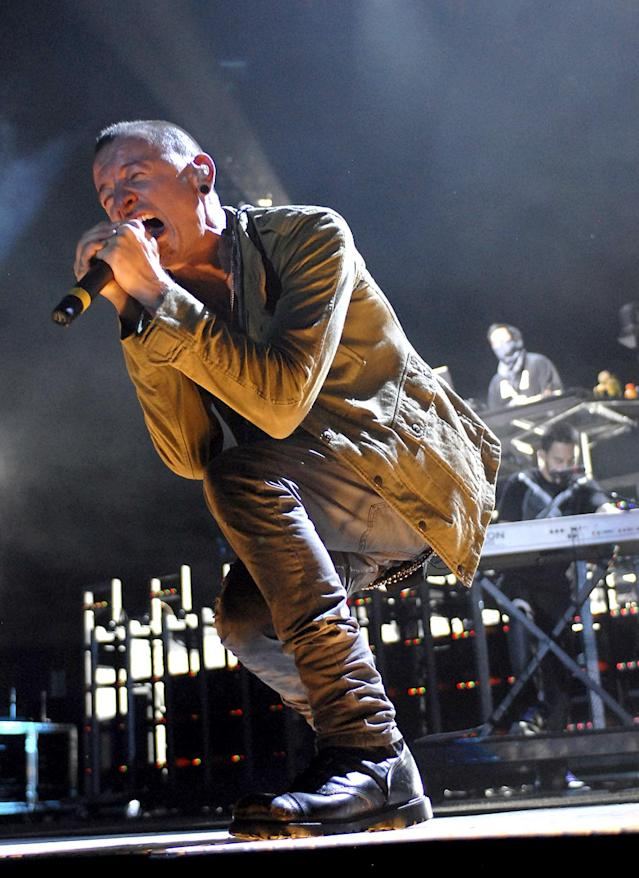 <p>Chester Bennington of Linkin Park performs during the Projekt Revolution Tour at the Sleep Train Ampitheatre on June 27, 2007 in Marysville, California. (Photo: Kevin Mazur/WireImage) </p>