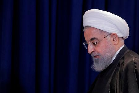 FILE PHOTO: Iran's President Rouhani exits following a news conference in New York