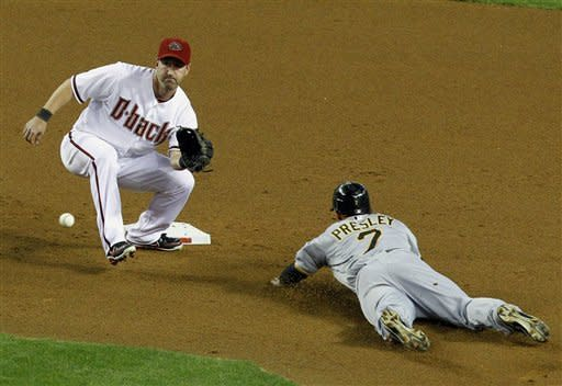 Arizona Diamondbacks' Willie Bloomquist, left, gets ready to catch the ball before tagging out a sliding Pittsburgh Pirates' Alex Presley, as he attempted to steal second base, during the fifth inning in an MLB baseball game Monday, April 16, 2012, in Phoenix. The Diamondbacks defeated the Pirates 5-1.(AP Photo/Ross D. Franklin)