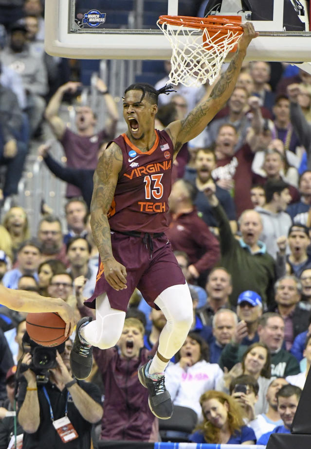 <p>Virginia Tech Hokies guard Ahmed Hill (13) reacts after a dunk against the Duke Blue Devils on March 29, 2019, at the Capital One Arena in Washington, DC during the Sweet Sixteen Division 1 Men's Championship game between the Virginia Tech Hokies and the Duke Blue Devils. (Photo by Mark Goldman/Icon Sportswire) </p>