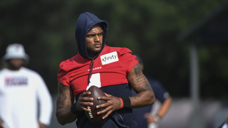 Deshaun Watson at practice with the Texans.