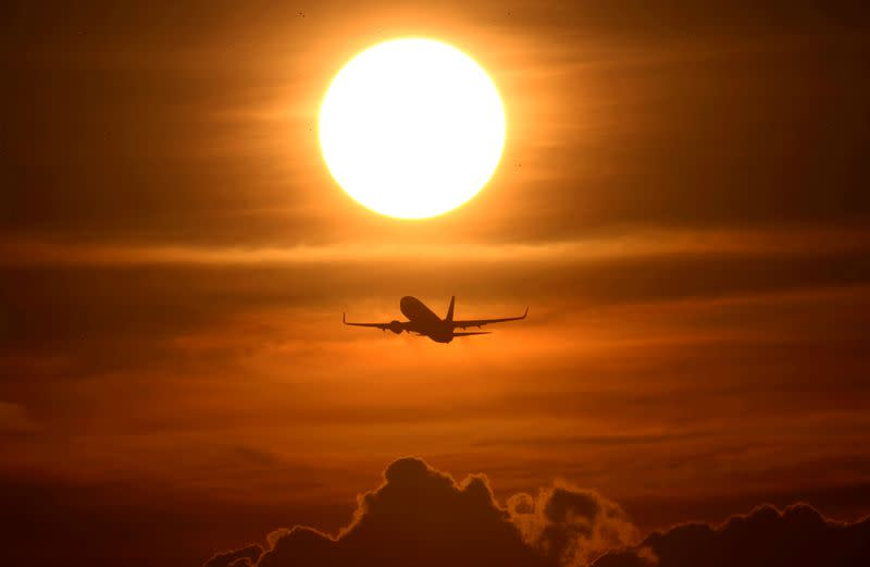 FILE PHOTO: An air plane takes off from the airport as air traffic is effected by the spread of the coronavirus disease (COVID-19) in Frankfurt