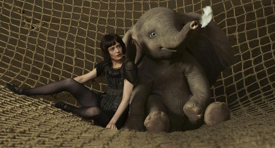 Eva Green's trapeze artist Collette befriends Dumbo, the flying elephant (Disney)