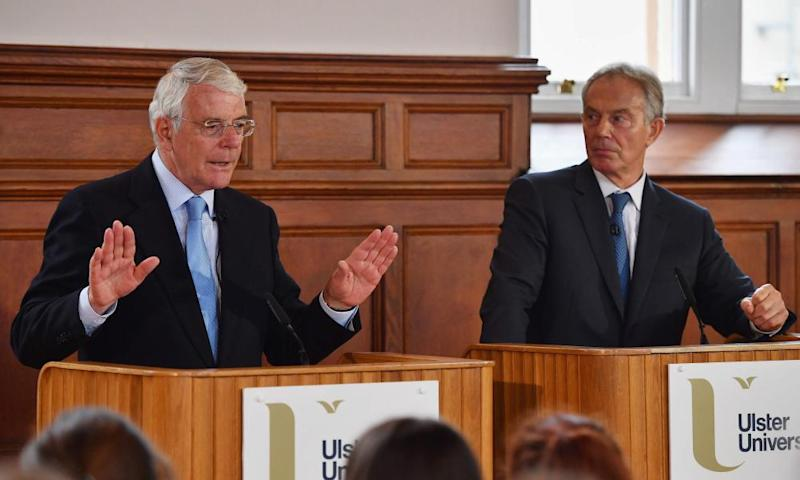 John Major and Tony Blair campaigning for remain in Derry, June 2016