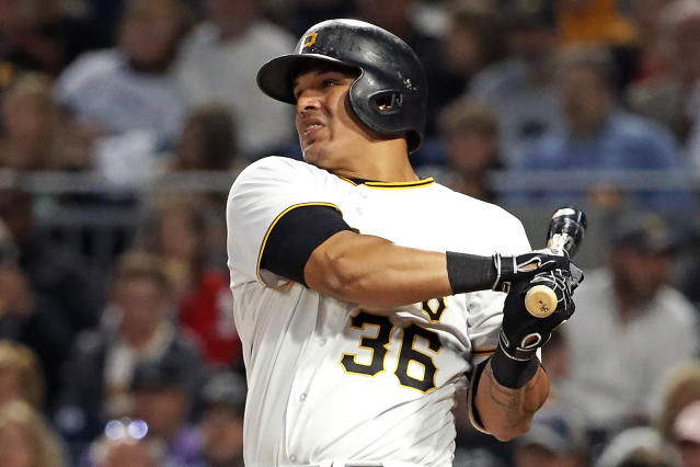 Pittsburgh Pirates' Jose Osuna watches his two-run home run off San Francisco Giants starting pitcher Andrew Suarez in the fourth inning of a baseball game in Pittsburgh, Friday, May 11, 2018. (AP Photo/Gene J. Puskar)