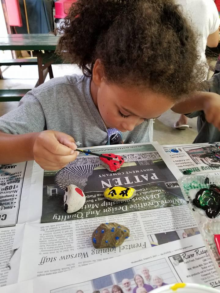 kids painting kindness rocks