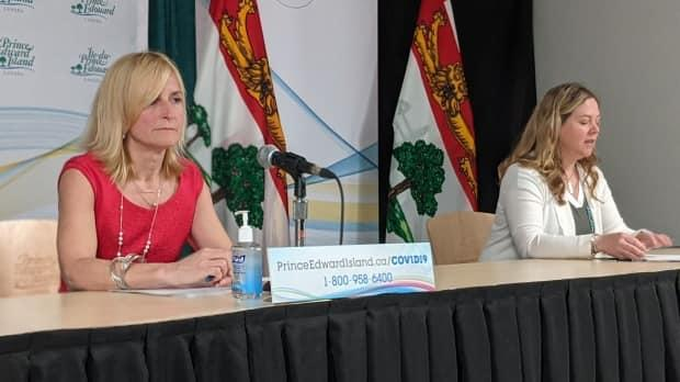P.E.I. Chief Public Health Officer Dr. Heather Morrison, right, and Health PEI Chief of Nursing Marion Dowling at a COVID-19 pandemic briefing Tuesday.