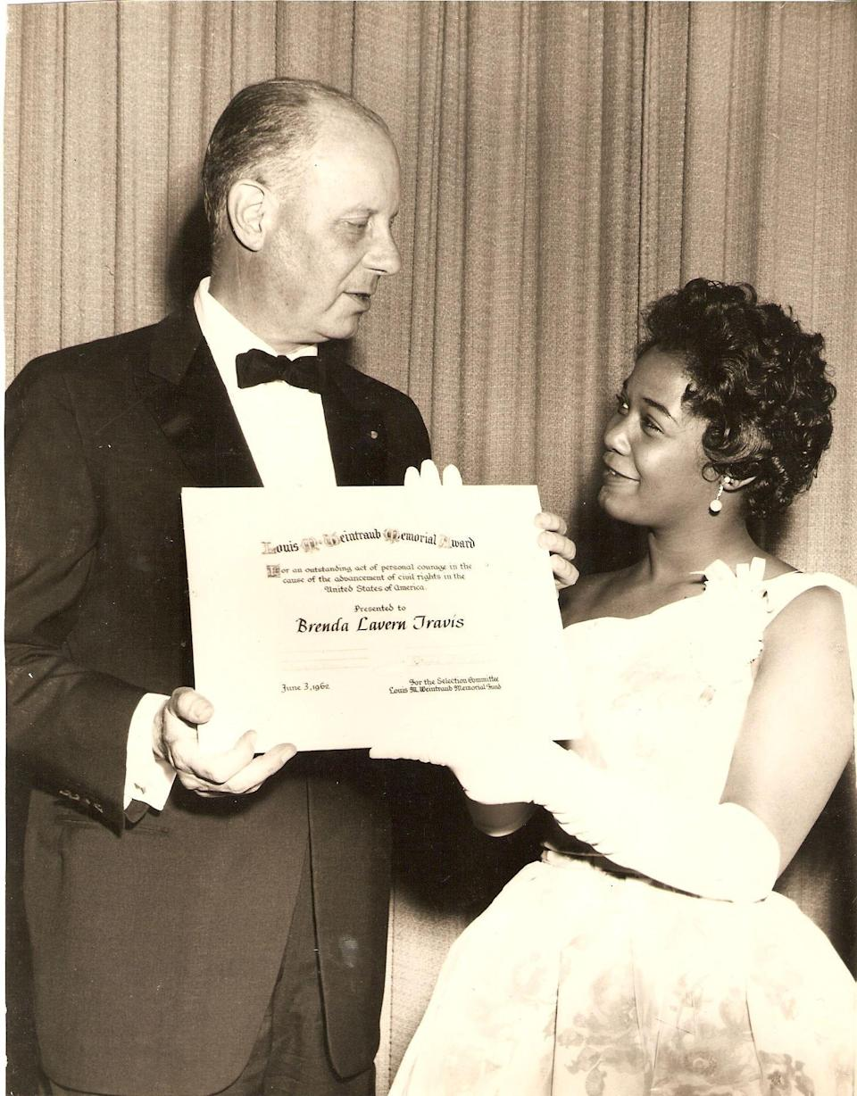 Brenda Travis, who led a walkout of her high school in 1961 after being expelled for her civil rights activities, later received praise for her work. She was awarded the Louis M. Weintraub Award in 1962. (Courtesy of NewSouth)